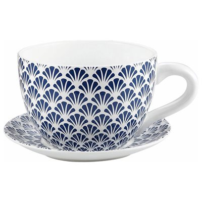 Tea Cup Planter & Saucer Blue Seashells 10in (25.4cm)