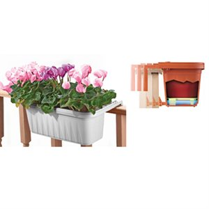 Adjustable Railing Planter White 24in