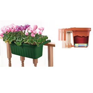 Adjustable Railing Planter Green 24in