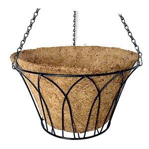 14in Wire Arch Hanging Black Basket With Coco Liner