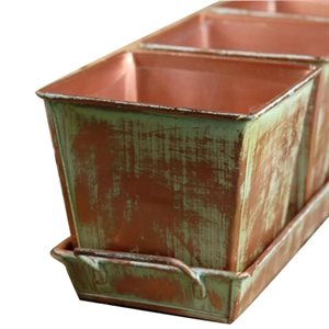 12in x4in x4in Tray With 3 Square Planters - Copper Green Finish
