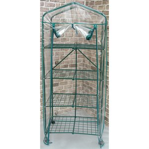4 Tier Greenhouse Foldable HD Cover w / Casters 27in x19in x63in