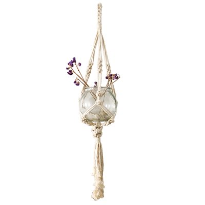 Macrame Cotton Plant Hanger Style 1808 Natural 41in