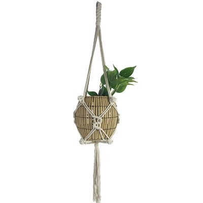 Macrame Cotton Plant Hanger Style 1902 Natural 35in
