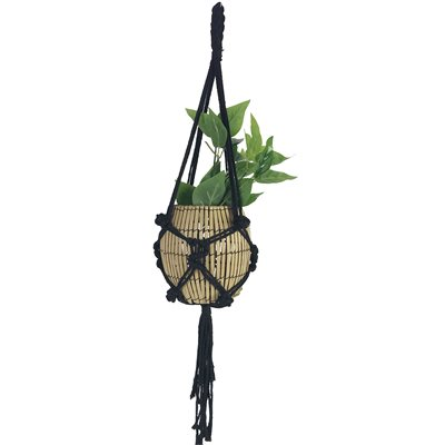 Macrame Cotton Plant Hanger Style 1902 Black 35in