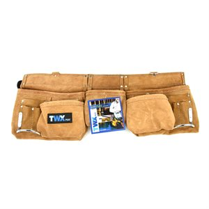 Carpenter Apron Split Leather 12pocket (2 lrg 3 med 7 sm) with 2in Leather Belt