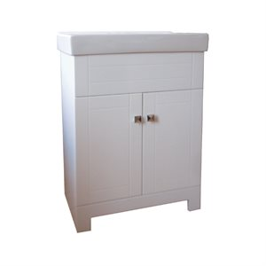 MDF Lacquer White Vanity W / Basin 24in