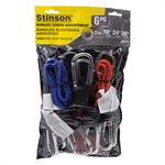 6PC Reflective Stretch Cords W / Alum. Carabiner 2x18,24,36in