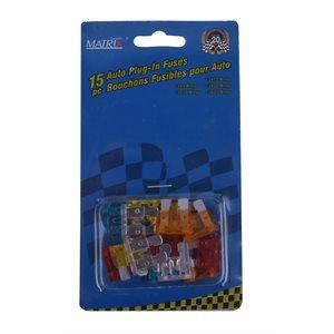 15 pc Auto Plug-In Fuses