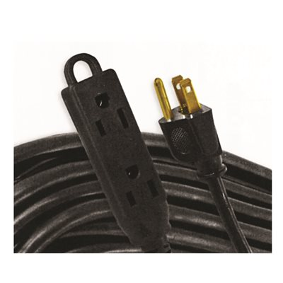 Extension Cord 5m SJTW 16 / 3 3-Outlet Audio / Visual Cord Indoor Woods Avw405m Black