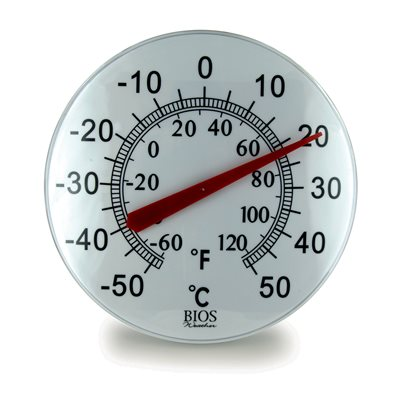 12in Dial Thermometer - Black & White