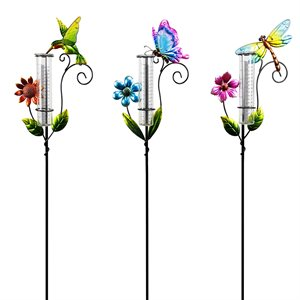 Rain Gauge Prepack Insects & Hummingbird Stake Tray pack of 12 assorted styles