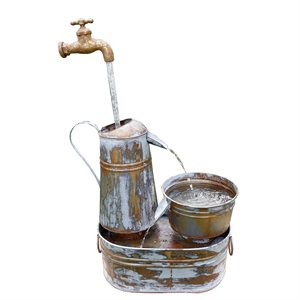 Outdoor Fountain Rustic Metal Invisible Flowing Spout Watering Can