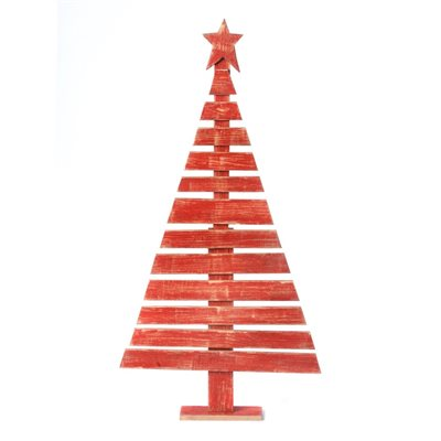 Wooden Hand Painted Christmas Tree Red 49in high