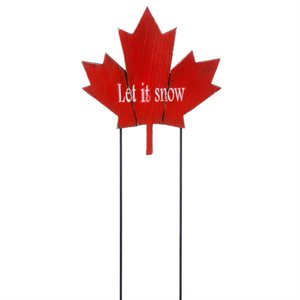 Wooden Red Maple Leaf Stake - 'Let It Snow' 11.8in x 12.4in High