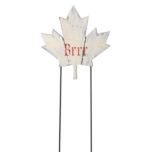 Wooden White Maple Leaf Stake BRR 11.8in x 12.4in