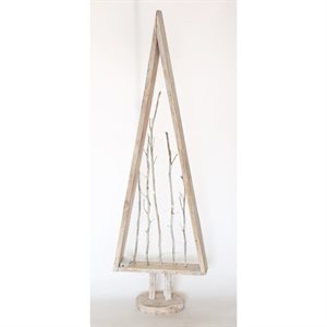 Wooden Hand Painted Tree with Twigs and Battery Operated lights White 55in