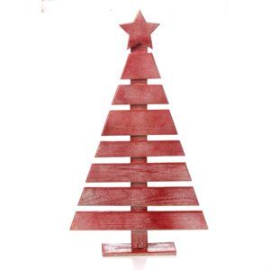 Wooden Hand Painted Christmas Tree Red 27-1 / in high