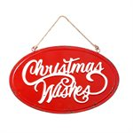Hanging Metal Christmas Wishes Sign 19.5in Diameter