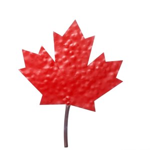 Decorative Red Metal Maple Leaf Wall Décor 11in