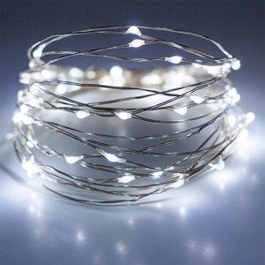 GLO Battery Powered Micro LED Light Set With Timer 50 Cool white bulbs 16.5ft Length