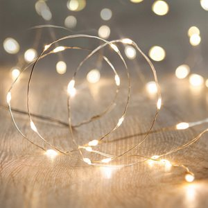 GLO Battery Powered Micro LED Light Set With Timer 50 Warm White bulbs 16.5ft Length
